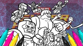 LEGO Superheroes Coloring Set | How To Draw Avengers