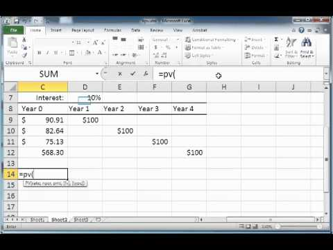 Computing the present value of future cash flows using the Excel PV ...