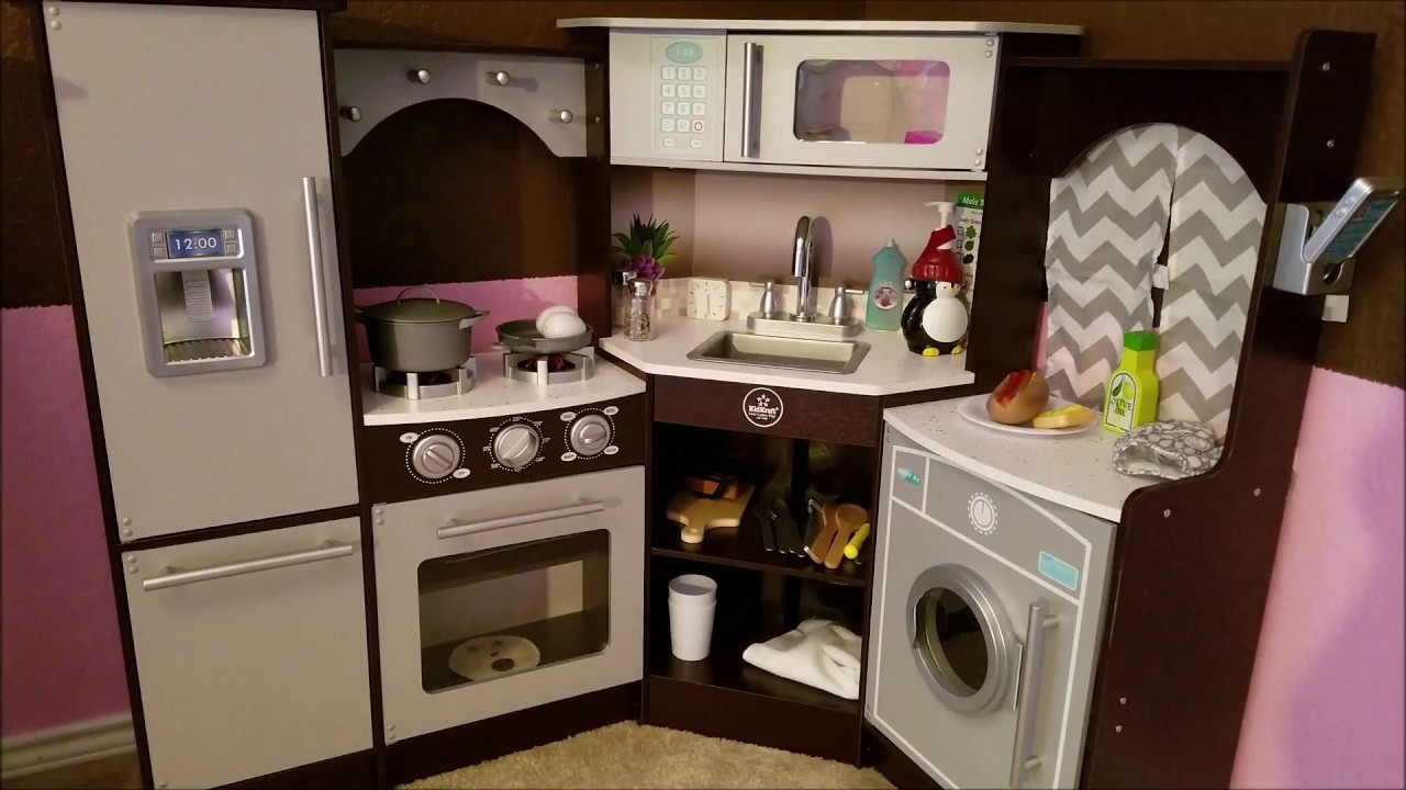 play kitchen with sounds and lights kidkraft ultimate corner play kitchen with lights amp sounds 9143