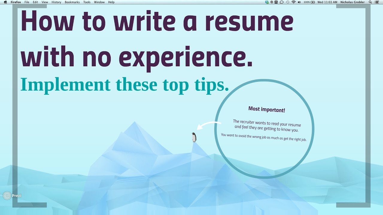 How To Write A No Work Experience Resume   YouTube  No Work History Resume