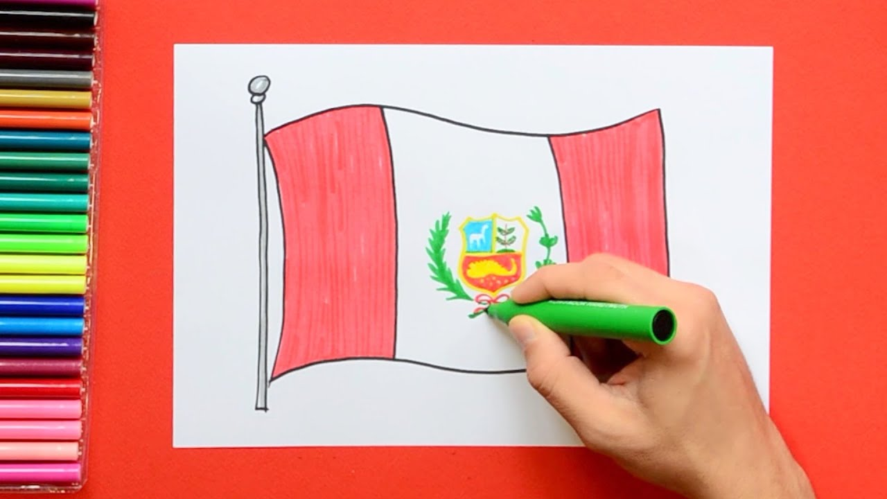 how to draw and color the national flag of peru youtube