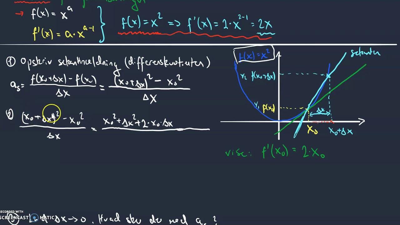 differentiation af fx=x^2 vha tretrinsreglen