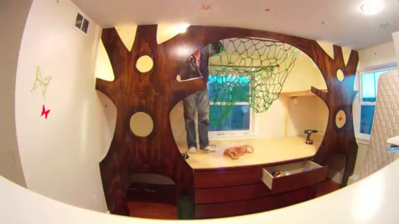 DIY Kidu0027s Indoor Treehouse Bedroom Makeover Time Lapse On A Budget W/ A  Hammock   YouTube