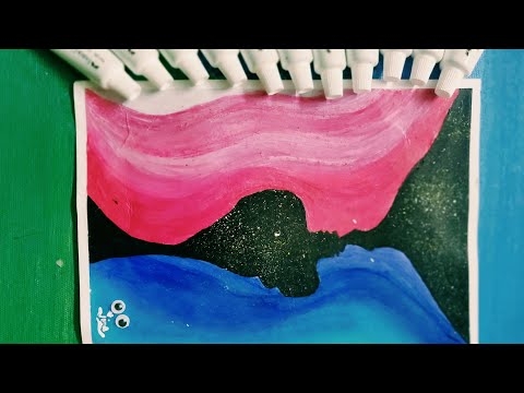 Abstract Acrylic Painting of Soul Mate for beginners || Painting using Sponge  || Back to Nature