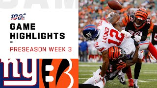 Giants vs. Bengals Preseason Week 3 Highlights | NFL 2019
