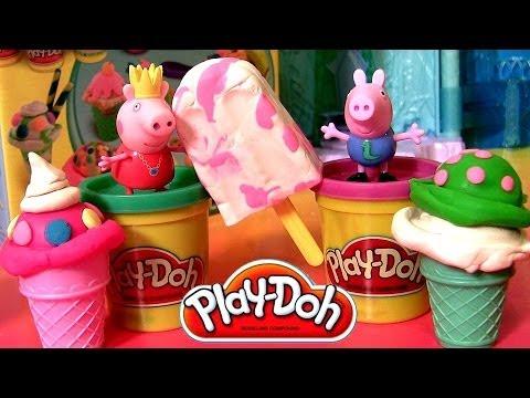 Play Doh Ice Cream Cones Peppa Pig Scoops 'N Treats Playset Cerdita Princess Peppa Nickelodeon Travel Video