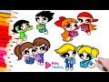Coloring Powerpuff Girls Rowdyruff Boys Brick Boomer Butch Blossom Bubbles surprise eggs