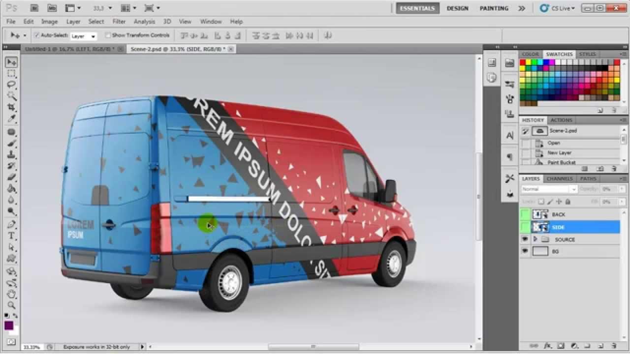 Car sticker design psd - Van Mock Up