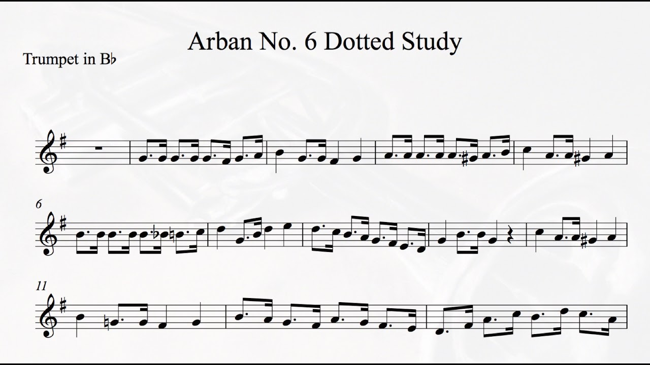 Arban No 6 Dotted Exercise Playalong Trumpet or Cornet C=100