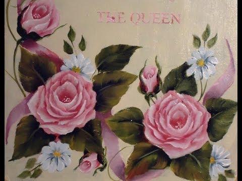 Como Pintar En Acrilico Con Tecnica Americana Cuadro De Rosas