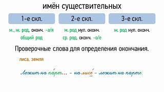 Типы склонений имён существительных (6 класс, видеоурок-презентация)