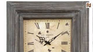 Clock: Weathered Grey Finish by Bassett Mirror-mc3257