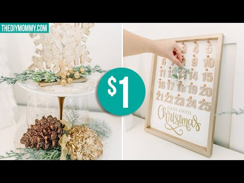 DIY DOLLAR STORE GLAM CHRISTMAS DECOR | Countdown Calendar, Tiered Tray & More!