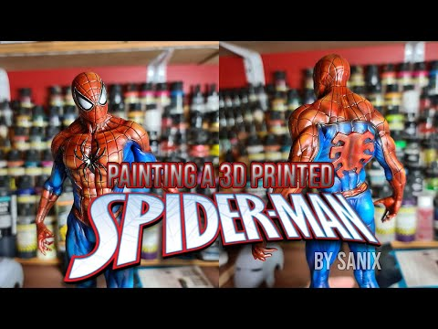 Painting A 3D Printed Spiderman Statue By Sanix