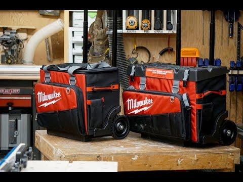 Milwaukee Hardtop Rolling Wheels Tool Storage Bag Tote 24 in Organizer Pockets