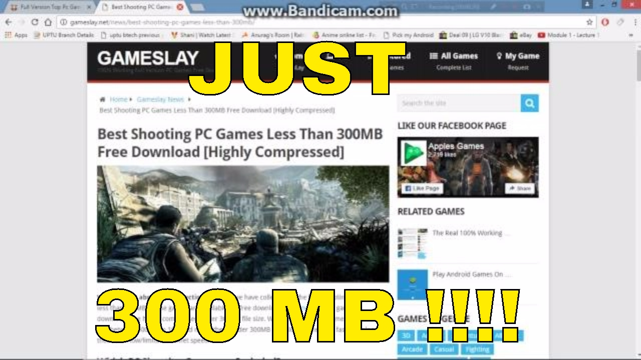 Pc Games In just 300mb Highly Compressed