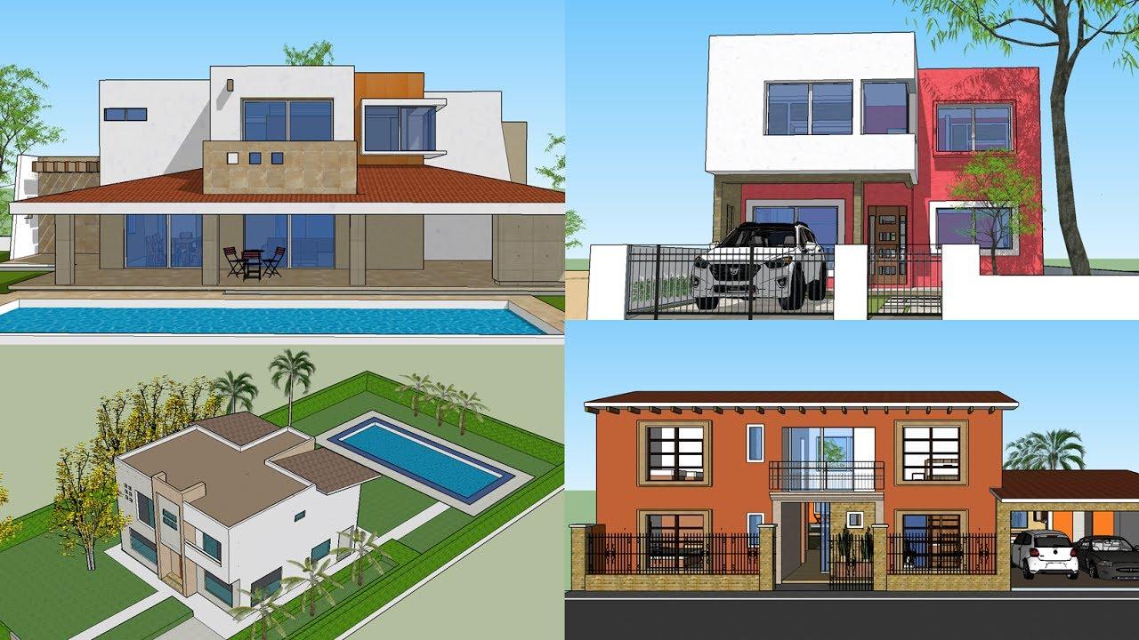 5 modelos de casas modernas de 2 pisos youtube for Modelos de fachadas modernas