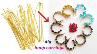 diy||Hoop Earrings With Head Pins||Quick and easy earrings with in 5mts||Make daily wear earrings
