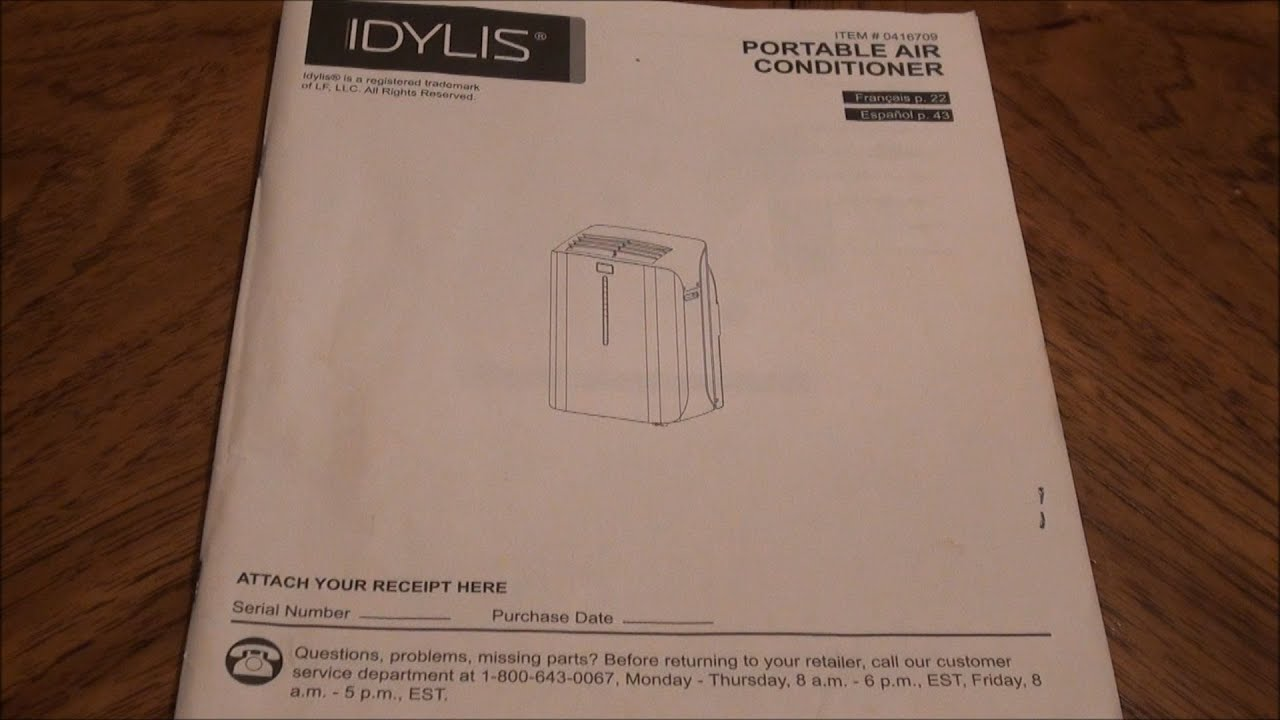 Lowe's Idylis 10,000 BTU A/C Instructions (Model: 0146709)