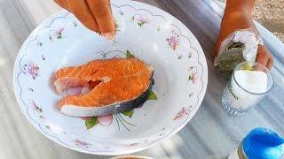 Лосось на гриле Стейк из лосося барбекю Как приготовить лосось Червона риба на грилі семга на гриле