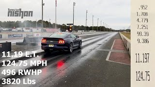 11.19 @ 124.75 MPH 496 RWHP 2018 Mustang GT 10-Speed 1/4 Mile with just a couple bolt-ons!
