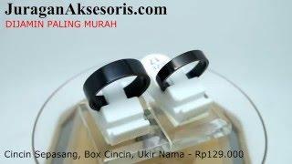 Cincin Couple Titanium Hitam - Bisa Ukir Nama - JuraganAksesoris.com
