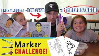 3 Marker Challenge (w/ Rob of Threadbanger) We Color Fortnite, Peppa Pig & More!