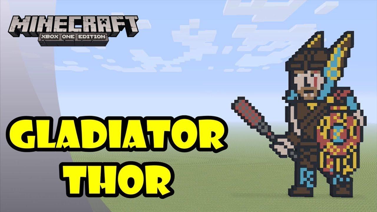 Minecraft: Pixel Art Tutorial and Showcase: Gladiator Thor ...