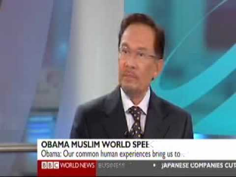 "Anwar Ibrahim on BBC News commenting on Barack Obama's ""Engaging the Muslim World"" speech"