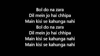Bol Do Na Zara Azhar Official Karaoke Lyrics Emraan Hashmi Nargis Fakhri Prachi Desai