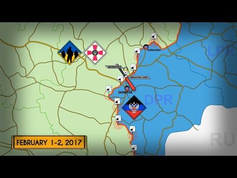 1-2 февраля 2017. Военная обстановка на Донбассе. Бои в районе Авдеевки. Русский перевод.