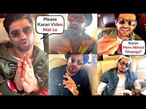 Karan Johar Funny Toodles Video With Kartik, Vicky, Ranveer, Varun On Plane - Filmfare Awards 2020