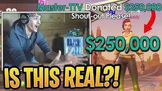 Ninja Gets $250,000 Donated by a Streamer for a Shout-out! - Fortnite Best and Funny Moments