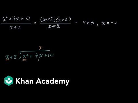 Example dividing a quadratic by a linear binomial