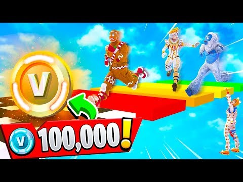 IF MY FANS WIN.. THEY GET 100K VBUCKS! (Fortnite Rainbow Parkour Challenge)