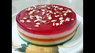 China Grass Pudding Recipe || 5 Layer pudding in very easy steps ||