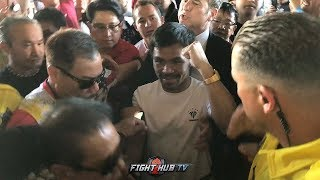 WATCH MANNY PACQUIAO GET MOBBED BY FANS THE MOMENT HE STEPS INTO THE MGM GRAND