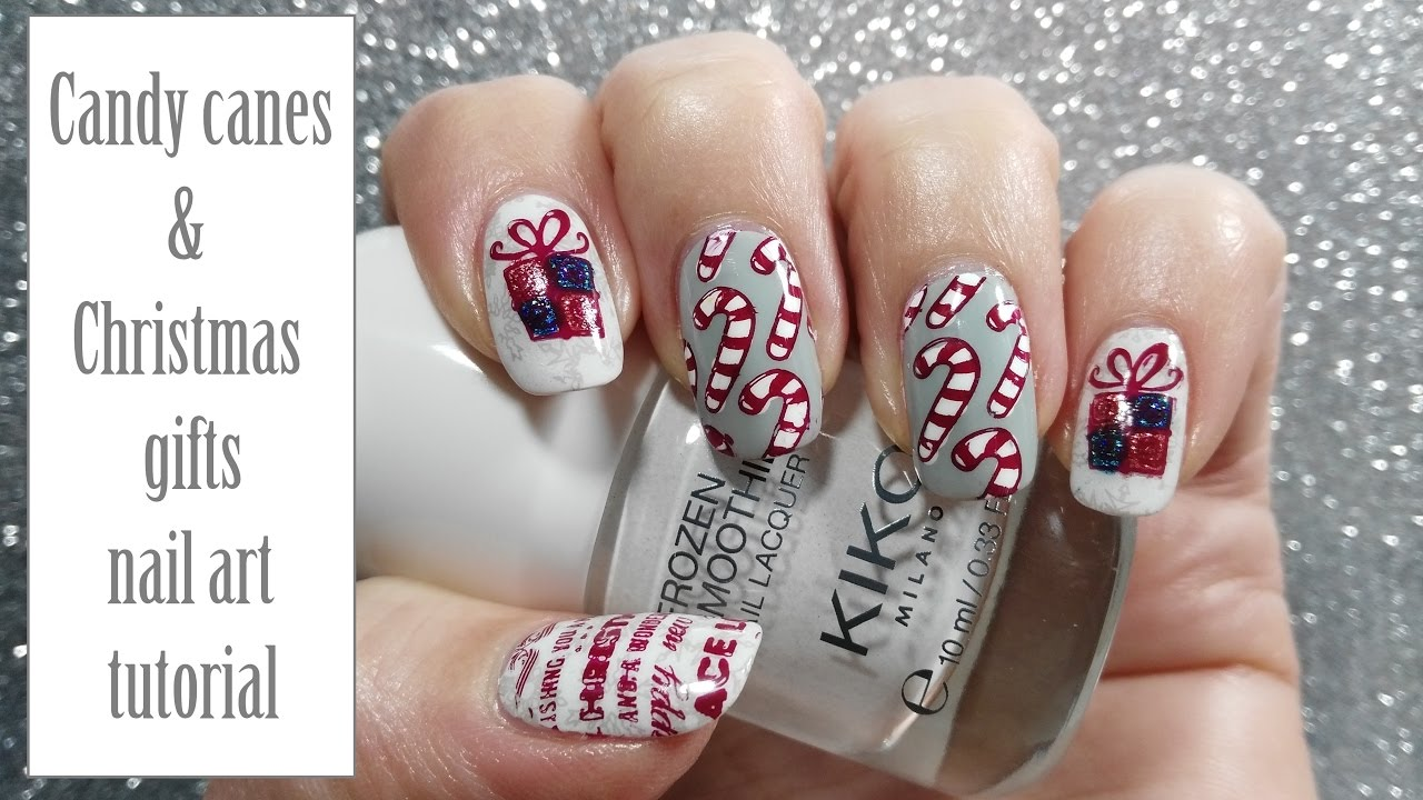 Candy canes & Christmas gifts nail art tutorial | Reverse stamping ...
