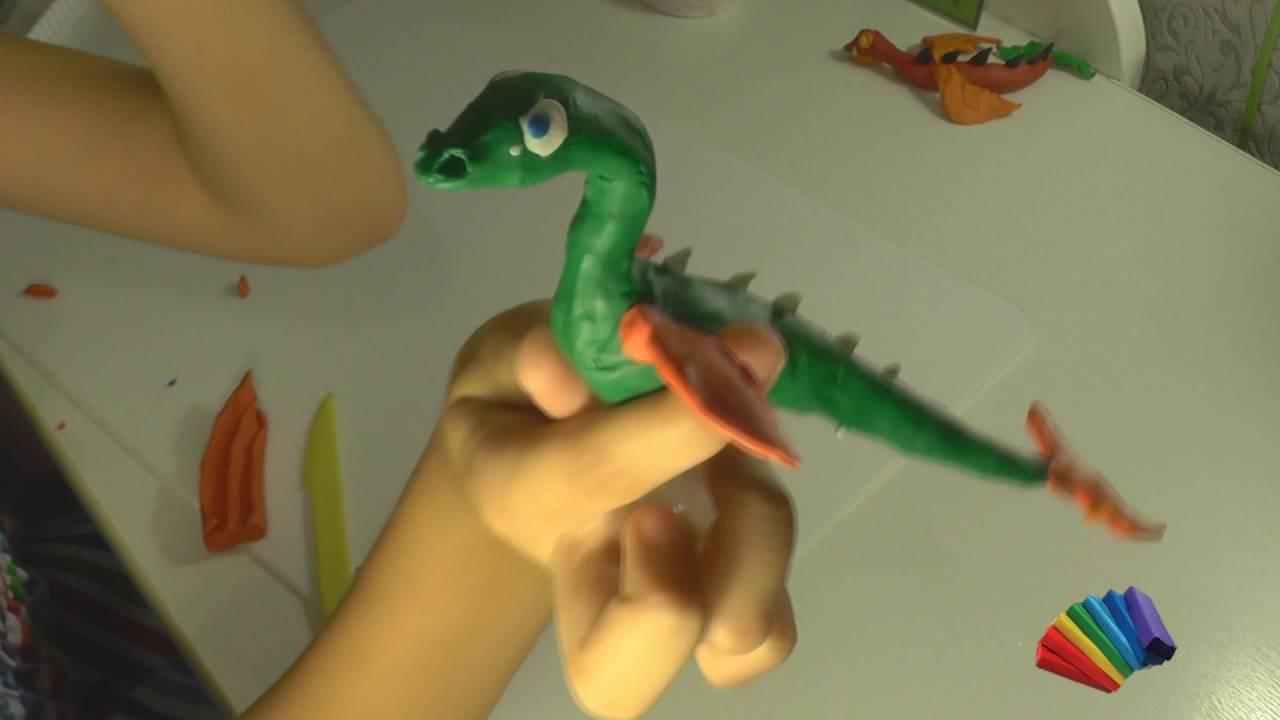 Подводный динозавр из пластилина своими руками