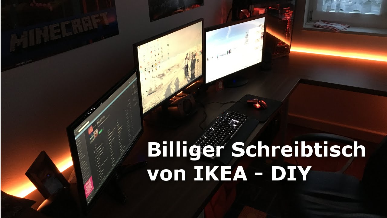 billiger schreibtisch f r 150 diy von ikea hd youtube. Black Bedroom Furniture Sets. Home Design Ideas