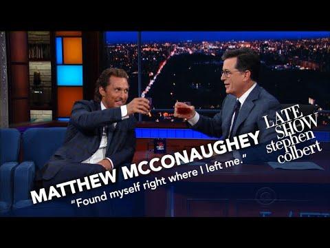 Matthew McConaughey And Stephen Drink Bourbon