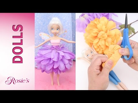 How to make flower dresses for Disney Fairies -  Super Easy! No Sew! No Glue!