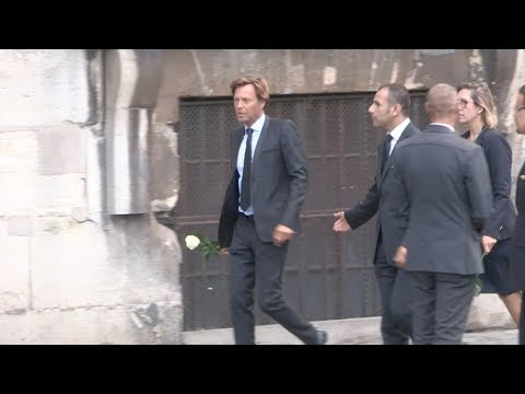 Johnny Hallyday, Pascal Desprez, Laurent Delahousse and more arrive at Mireille Darc Funeral