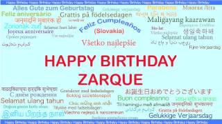 Zarque   Languages Idiomas - Happy Birthday