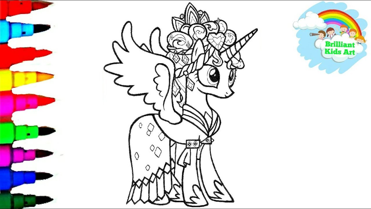 Coloring My Little Pony Princess Cadance With Gemstones Coloring