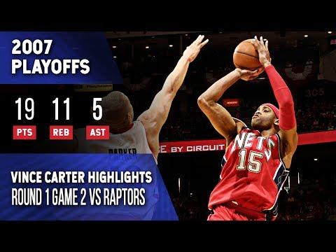 Vince Carter Highlights Playoffs Game 2 Nets vs Raptors (04.24.2007) 19pts, Split Defense Dunk! - 동영상