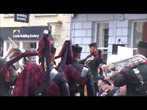 The Band, Pipes and Drums of the Brigade of Gurkhas marching display - Brecon 2016