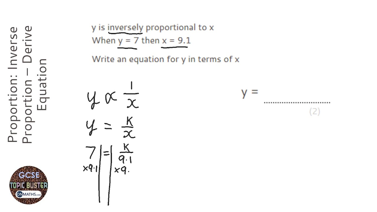 Proportion Inverse Proportion Derive Equation Grade 6 Onmaths