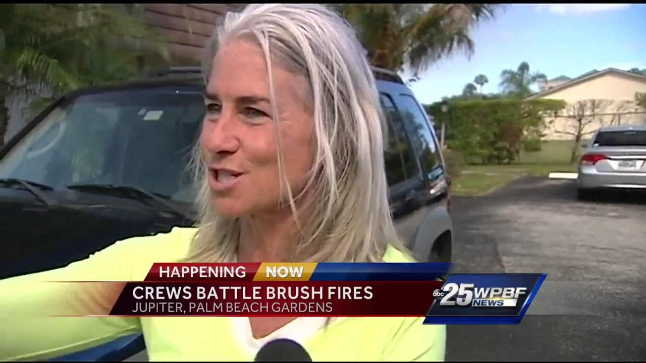 Crews battle brush fire in jupiter and palm beach gardens youtube for Fire in palm beach gardens today