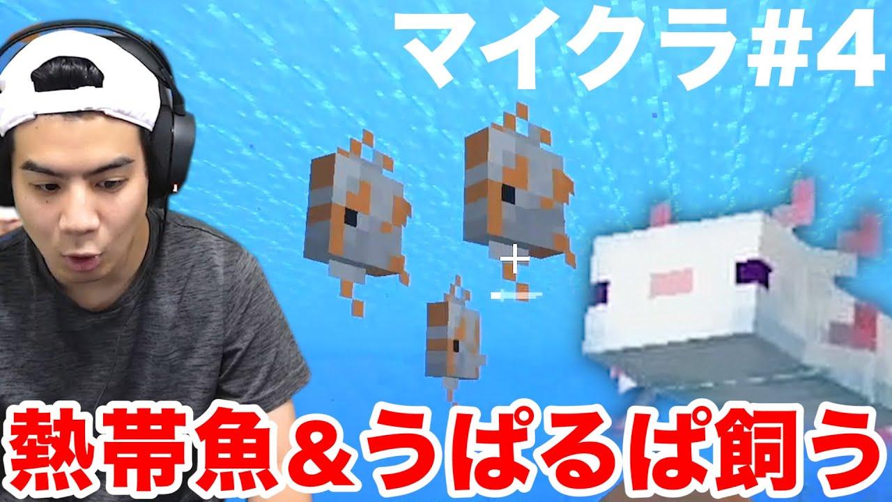 【マイクラ#4】拠点にプールを作ってウーパールーパーを飼いたい!!【モトクラ】